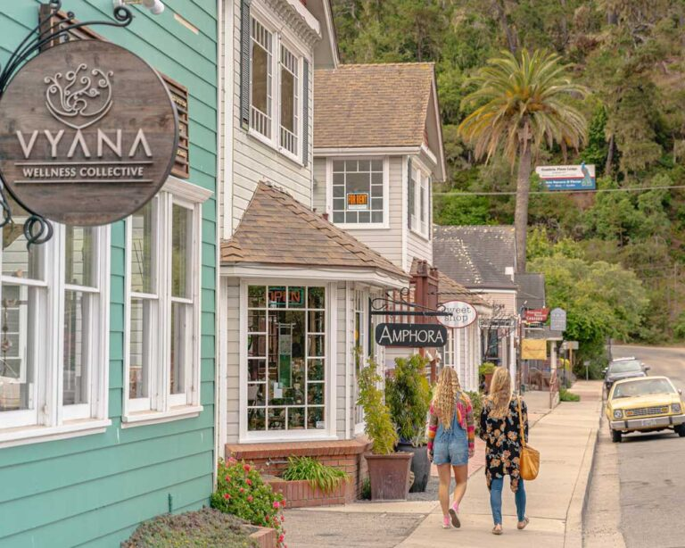 Visitors shopping on Main Street in Cambria